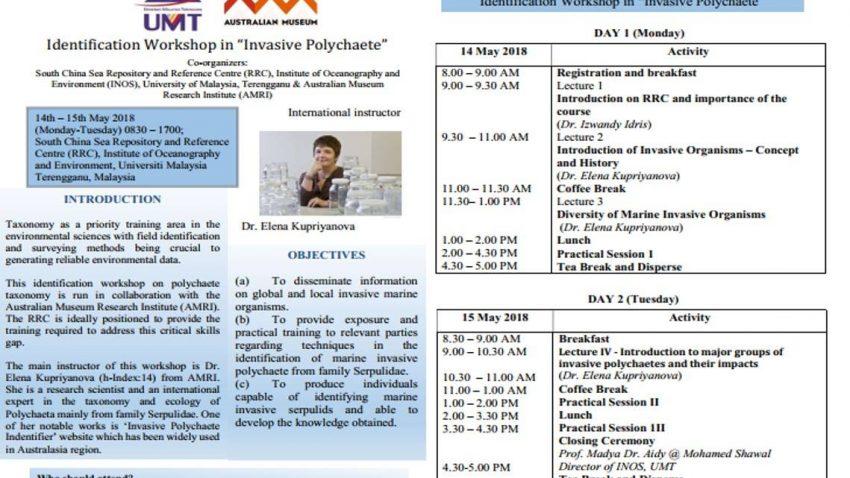 Identification Workshop in 'Invasive Polychaete' @ Pusat Rujukan & Repositori Laut China Selatan | Kuala Terengganu | Terengganu | Malaysia