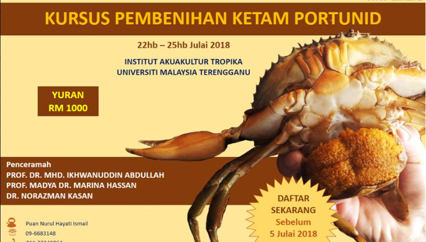 Kursus Pembenihan Ketam Protunid @ Institute of Tropical Aquaculture - Akuatrop UMT | Kuala Terengganu | Terengganu | Malaysia
