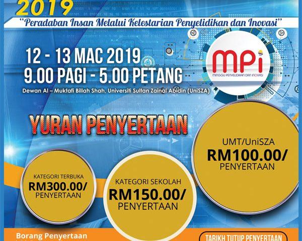 MINGGU PENYELIDIKAN DAN INOVASI 2019 (MPI'19) @ Dewan Al-Muktafi Billah Shah, UniSZA, Kuala Nerus, Terengganu.