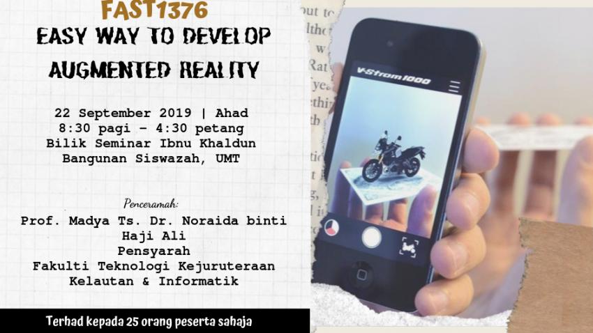 """Kursus Pengajaran Dan Pembelajaran : FAST1376 - """"Easy Way To Develop Augmented Reality"""" @ Bilik Seminar Ibnu Khaldun, Bangunan Siswazah, UMT"""