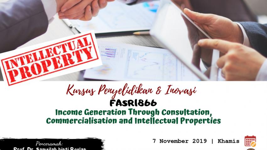 """Kursus Penyelidikan Dan Inovasi : FASR 1866 """"Income Generation Through Consultation, Commercialisation And Intellectual Properties"""" @ Bilik Seminar Ibnu Rushd, Bangunan Siswazah, UMT"""