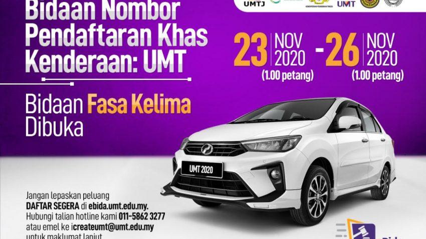 Tawaran Bidaan Nombor Pendaftaran Khas Kenderaan : UMT (Kali Kelima) @ Universiti Malaysia Terengganu