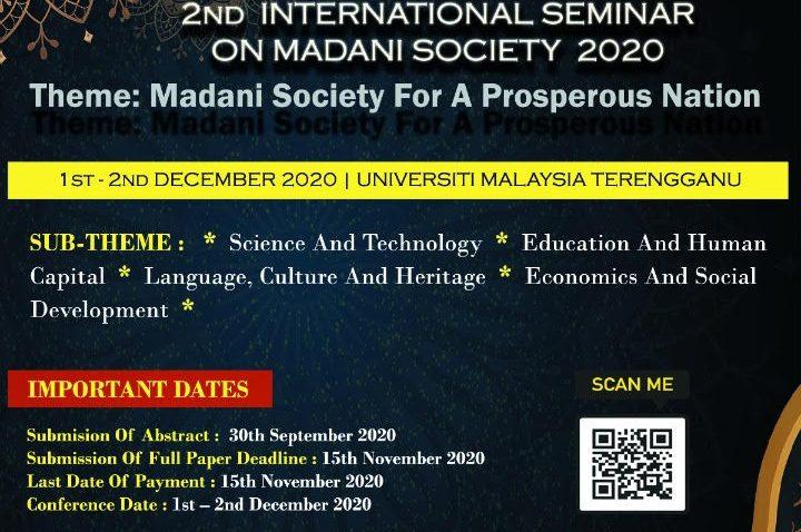 Majlis Perasmian Seminar Antarabangsa Masyarakat Madani Kali Ke-2 (Madani 2020) Secara Webinar @ Universiti Malaysia Terengganu