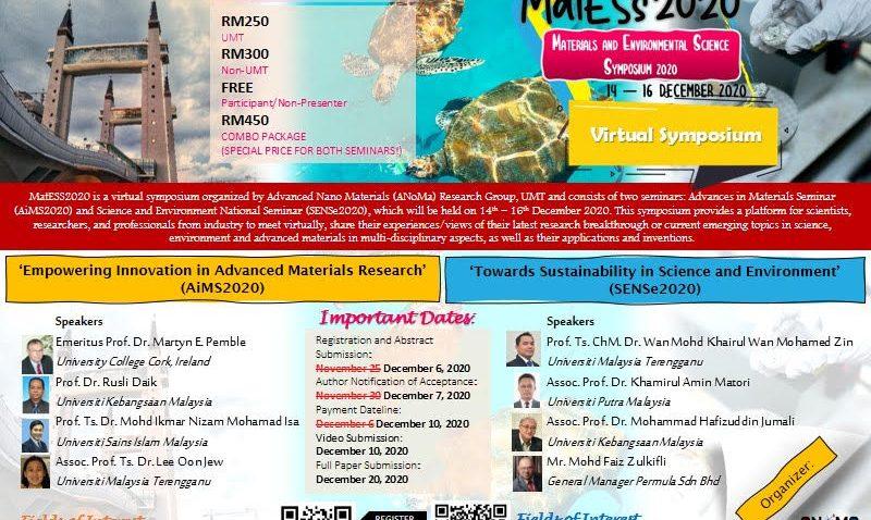 MATERIALS AND ENVIRONMENTAL SCIENCE SYMPOSIUM 2020 (MatESS2020) (VIRTUAL SYMPOSIUM) @ Universiti Malaysia Terengganu