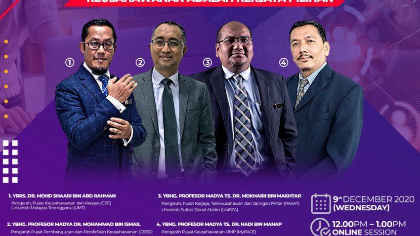 TALK SHOW BERSAMA PENGARAH KEUSAHAWANAN UNIVERSITI AWAM PANTAI TIMUR SEMPENA VIRTUAL 'CAREER, ENTREPRENEURSHIP AND SKILLS FESTIVAL' 2020 (V-CESF'20) @ Universiti Malaysia Terengganu