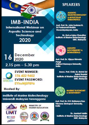 IMB-India International Webinar on Aquatic Science and Technology @ Universiti Malaysia Terengganu