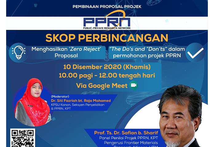 WEBINAR PEMBINAAN PROPOSAL PROJEK PUBLIC-PRIVATE RESEARCH NETWORK 2.0 @ Universiti Malaysia Terengganu
