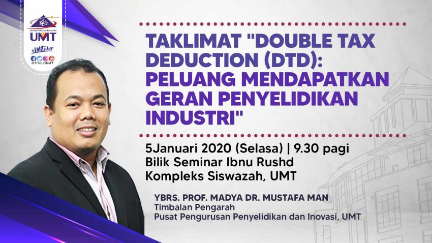 "CRIM UMT: TAKLIMAT ""DOUBLE TAX DEDUCTION (DTD) : PELUANG MENDAPATKAN GERAN PENYELIDIKAN INDUSTRI"" @ Universiti Malaysia Terengganu"