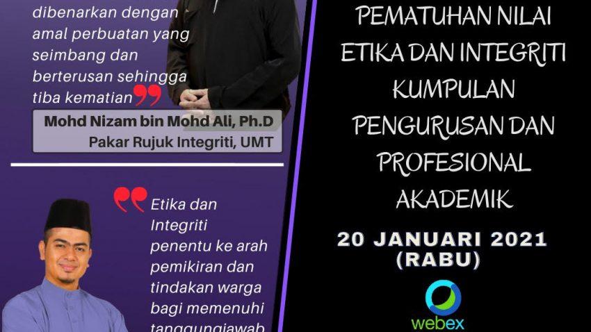 TAKLIMAT PEMATUHAN NILAI ETIKA DAN INTEGRITI WARGA UNIVERSITI MALAYSIA TERENGGANU @ Universiti Malaysia Terengganu