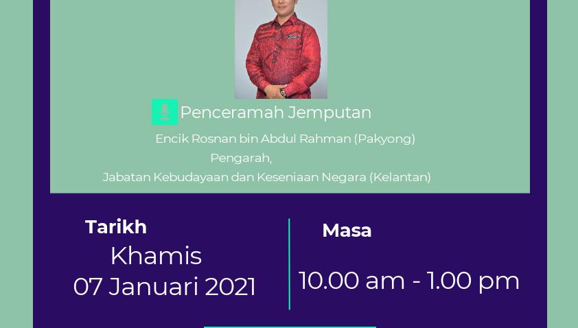 INDUSTRI DALAM KULIAH BERSAMA PENGARAH JABATAN KEBUDAYAAN DAN KESENIAN NEGARA (KELANTAN) @ Universiti Malaysia Terengganu