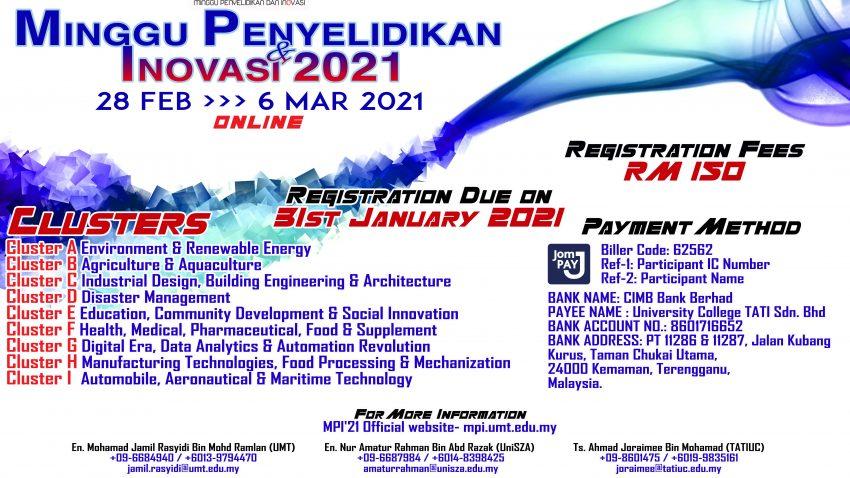 MINGGU PENYELIDIKAN INOVASI 2021 (MPI'21) @ Universiti Malaysia Terengganu