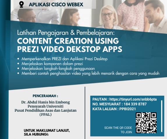 LATIHAN PENGAJARAN DAN PEMBELAJARAN : 'CONTENT CREATION USING PREZI VIDEO DESKTOP APPS' @ Universiti Malaysia Terengganu